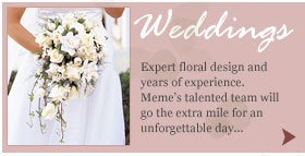 Weddings and wedding flowers by Meme's Florist